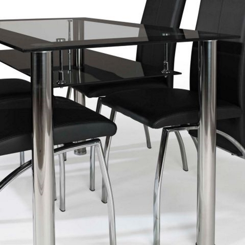Glass Dining Table Set With 4 Chairs Black EBay