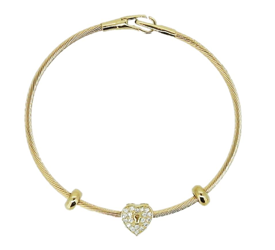 14k Yellow Gold Charm Bracelet: Heart Zircon Womens Solid Yellow Gold 14k 7.48 Inch