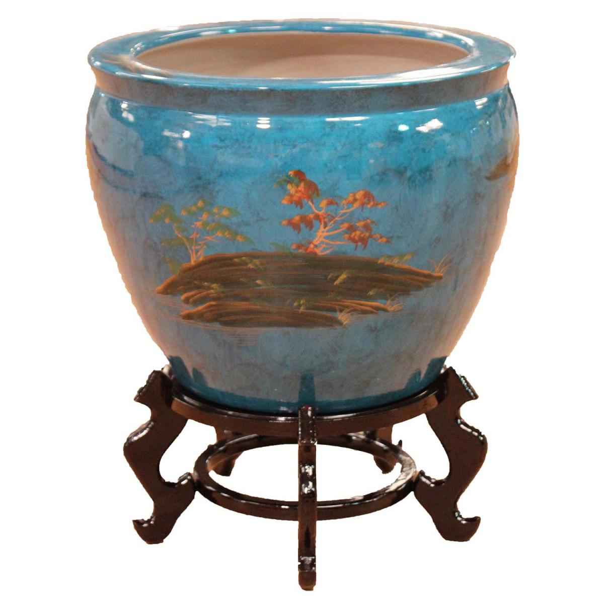 Oriental chinese fish bowls various designs blue black for Fish bowl cups