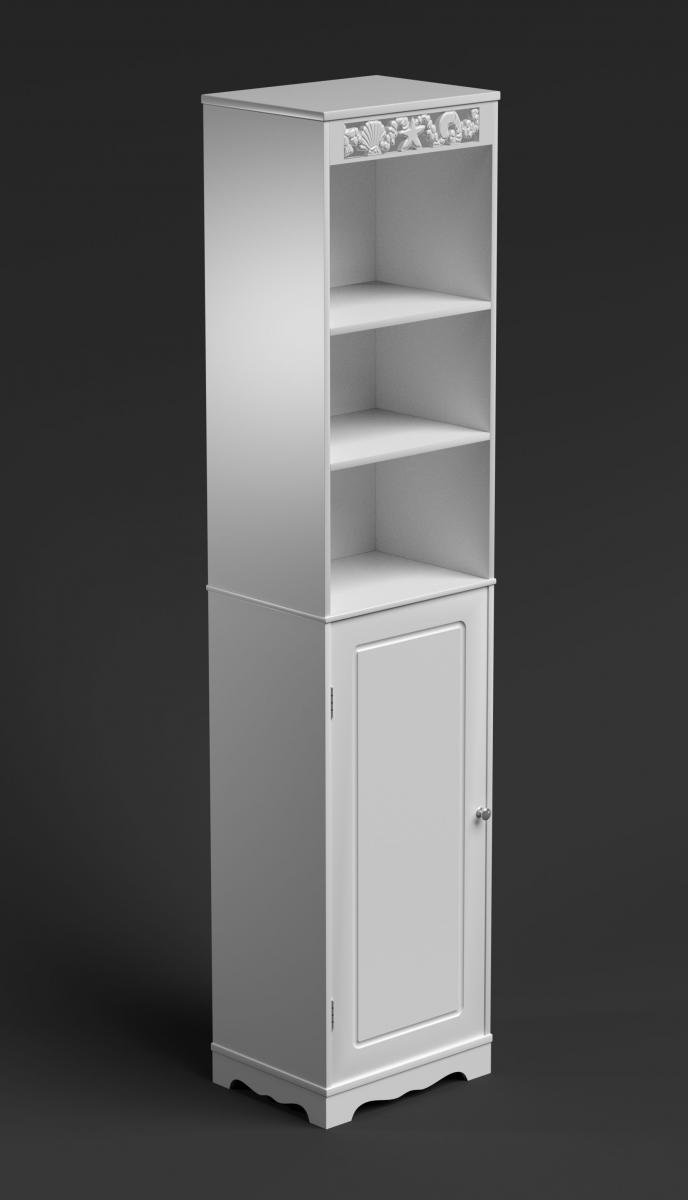 White Tall Bathroom Cabinet Narrow Cupboard Slim Storage Unit Shelves Doors