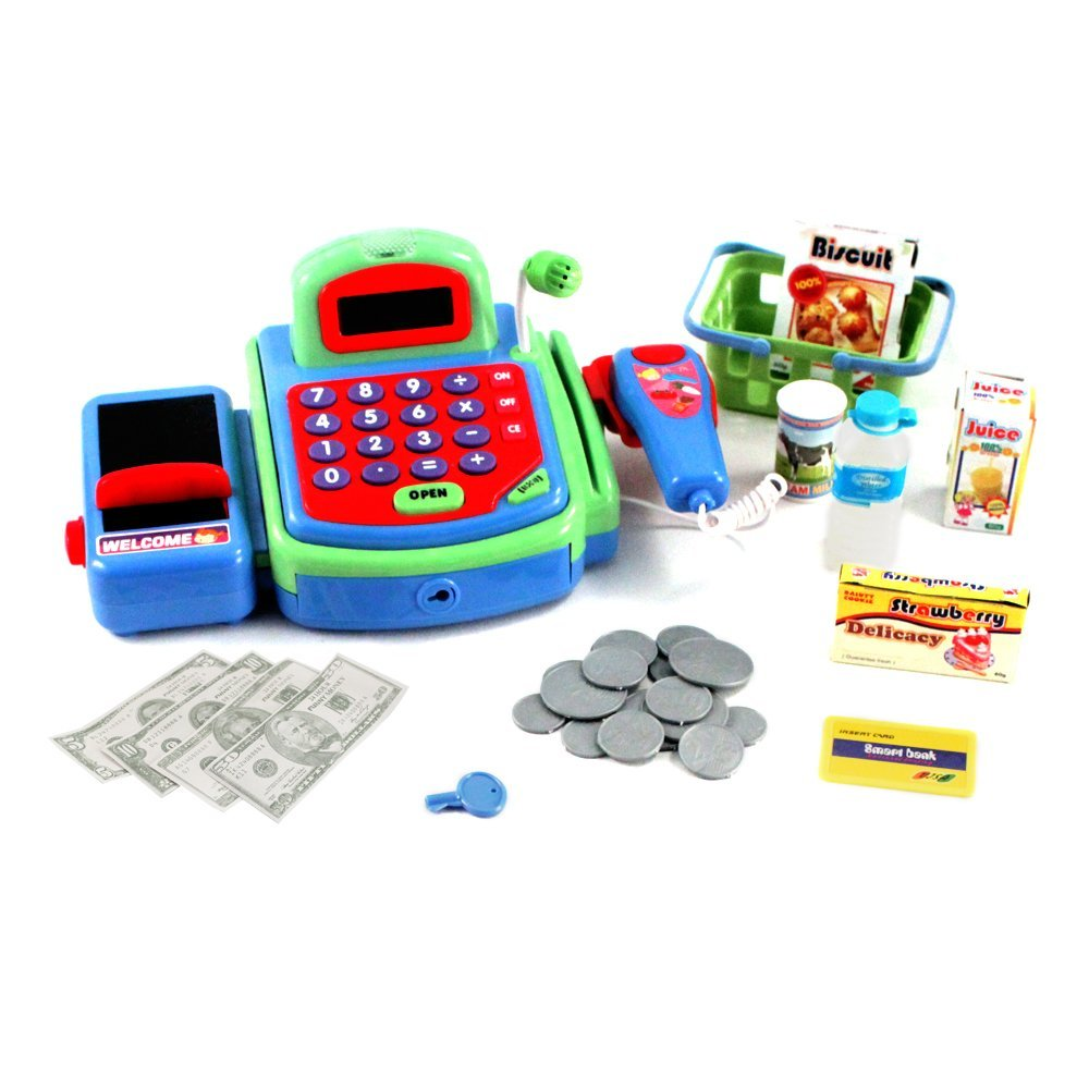 pretend play electronic cash register toy realistic actions sounds green. Black Bedroom Furniture Sets. Home Design Ideas