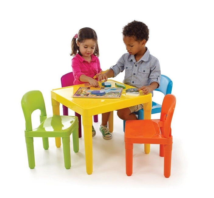 Kids 39 Table And 4 Chair Set Plastic Child Sized Table Chairs Set