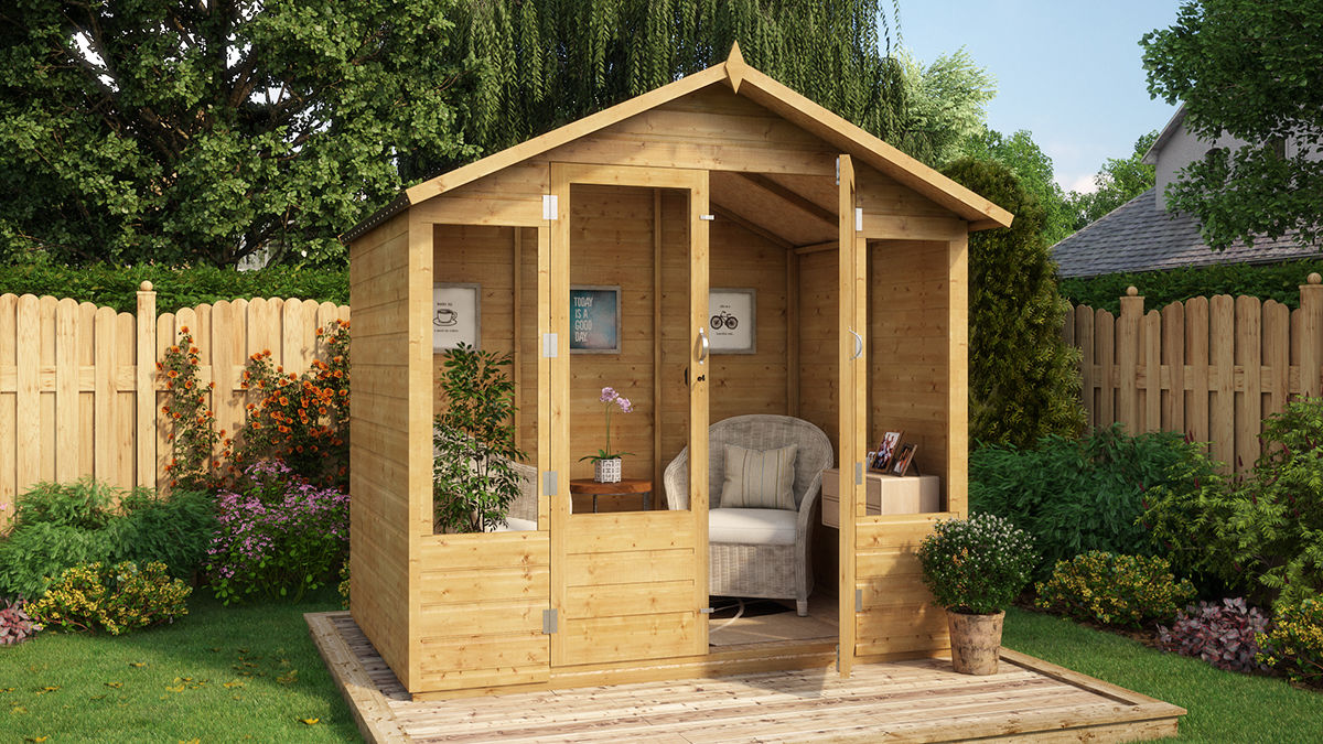 5x7 Wooden Garden Summerhouse Tongue And Groove Apex Double Door OSB ...
