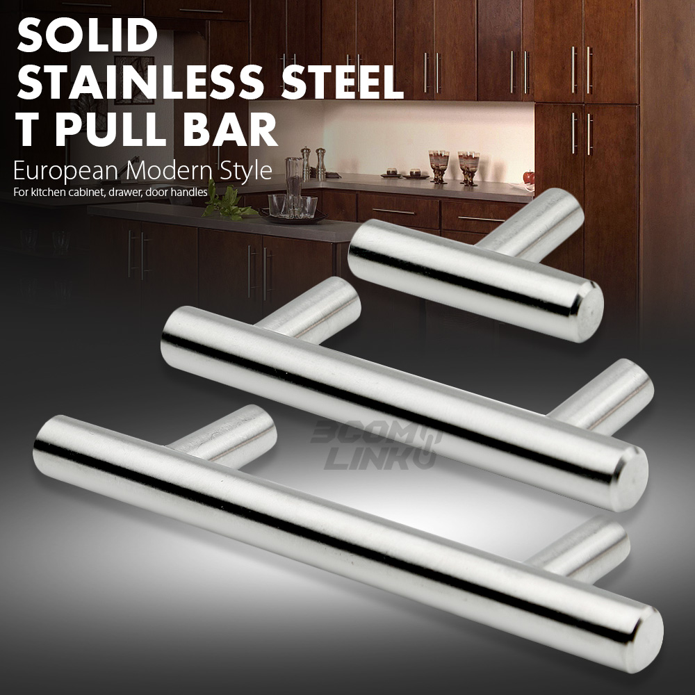 Door Handles Kitchen Cabinets: Stainless Steel T Bar Modern Kitchen Cabinet Door Handles