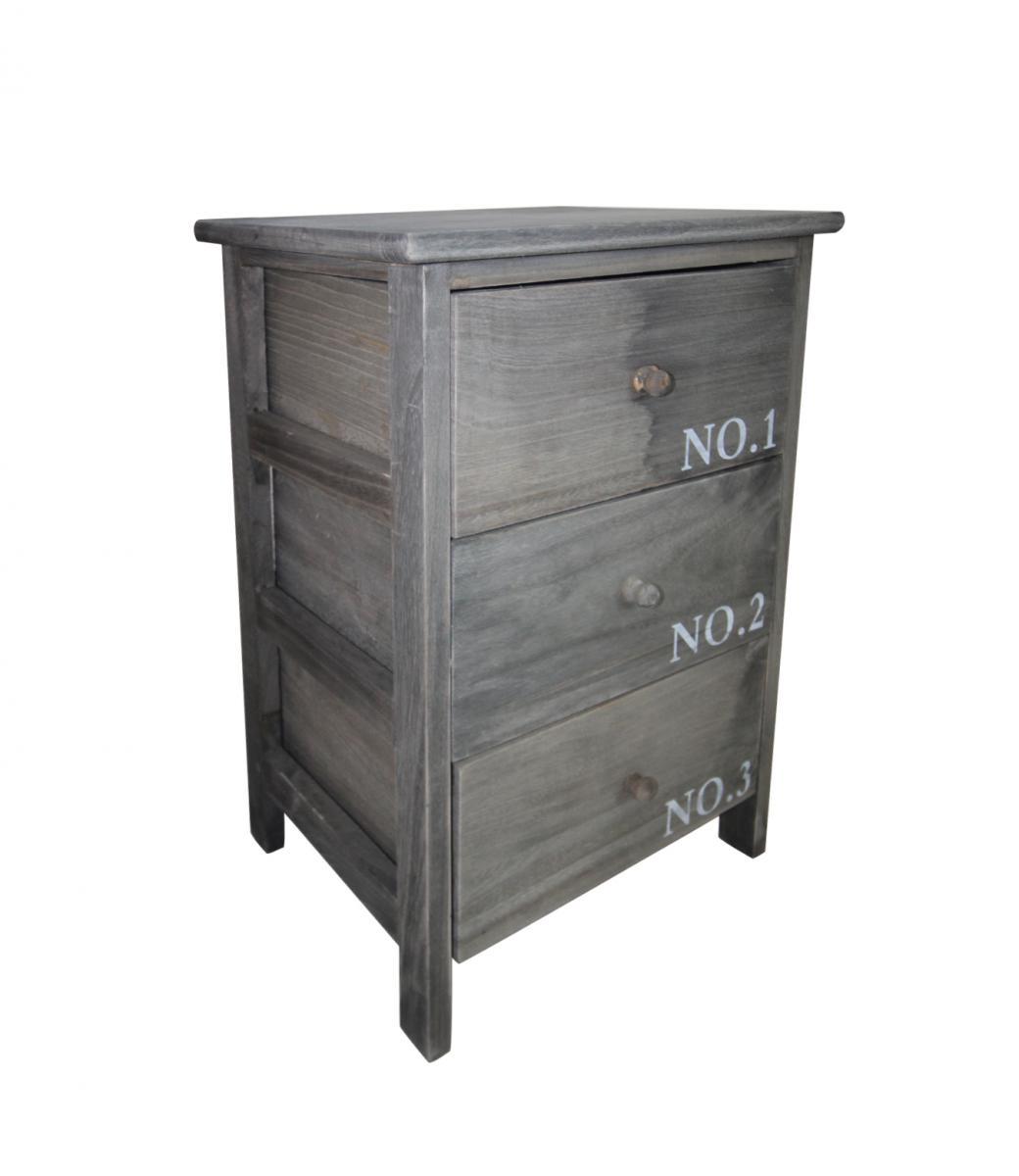 Comodino cassettiera 3 cassetti mobile basso legno grigio for Mobile basso bagno
