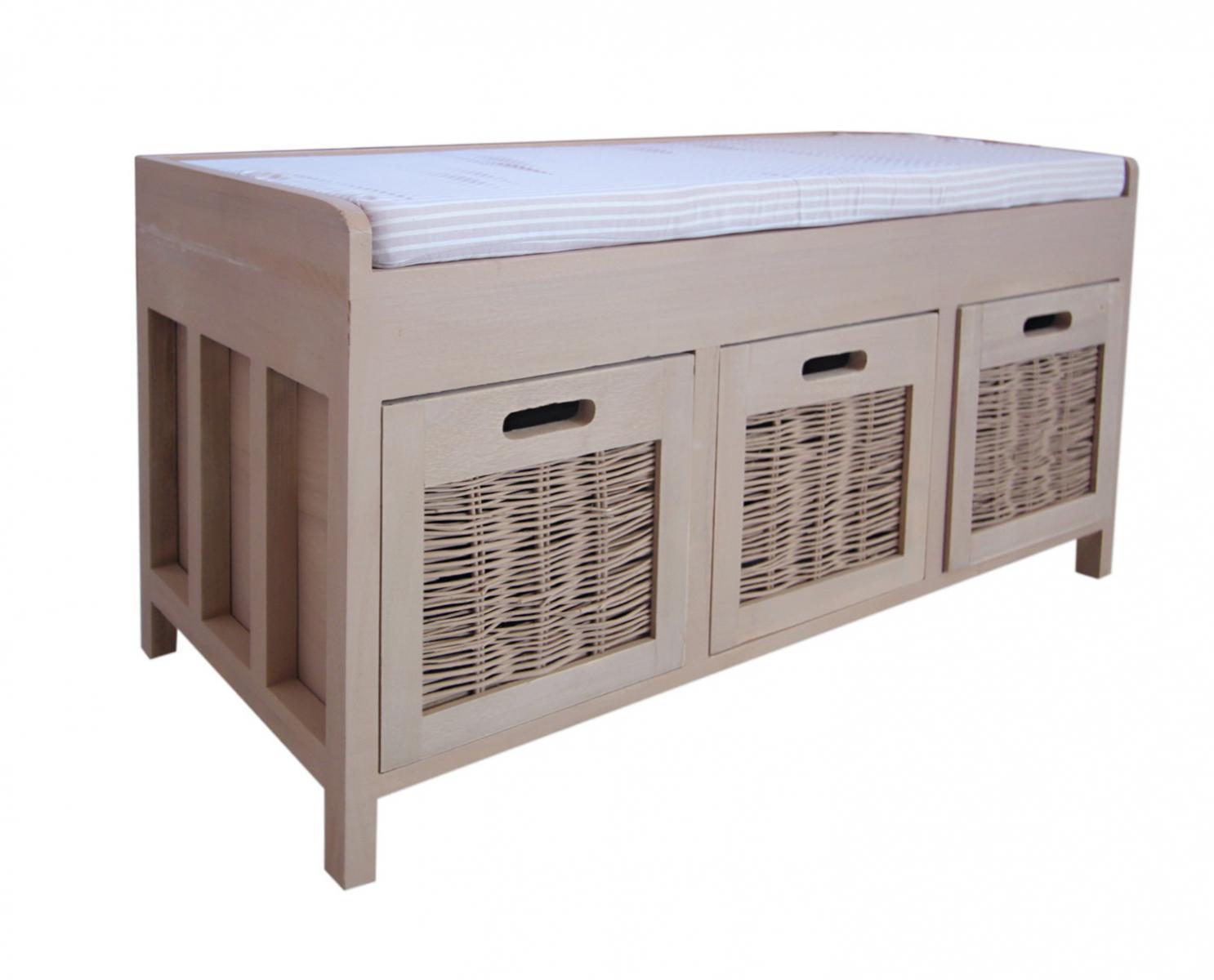 Bench Storage Unit Hallway Bedroom Beige Seat Fabric