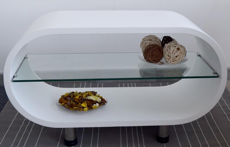 Tavolo tavolino ovale bianco ripiano in vetro da salotto for Tavolino salotto moderno vetro design bianco ovale