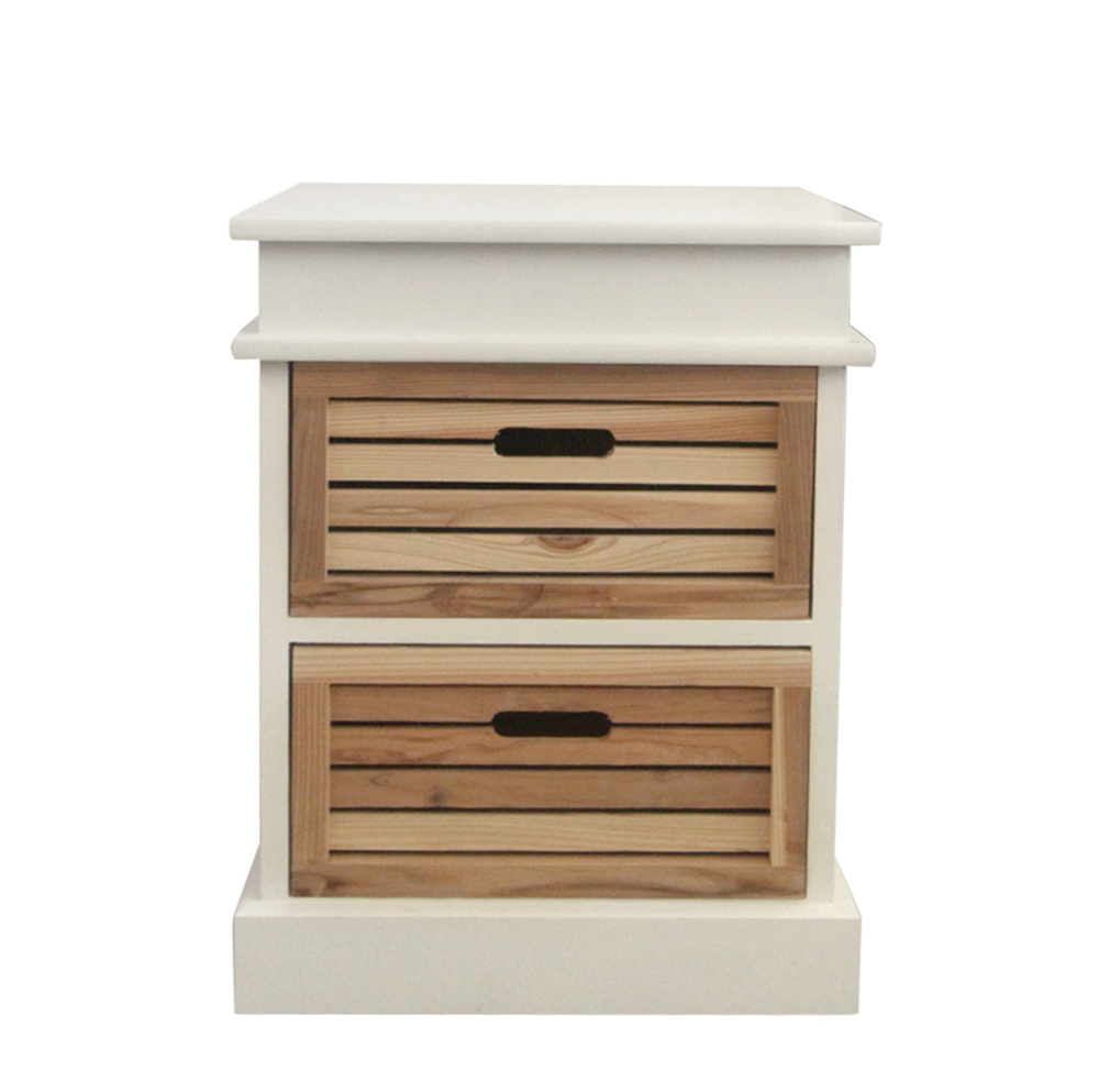 Bedside table cabinet white 2 drawers light wooden bedroom for White wooden bathroom drawers