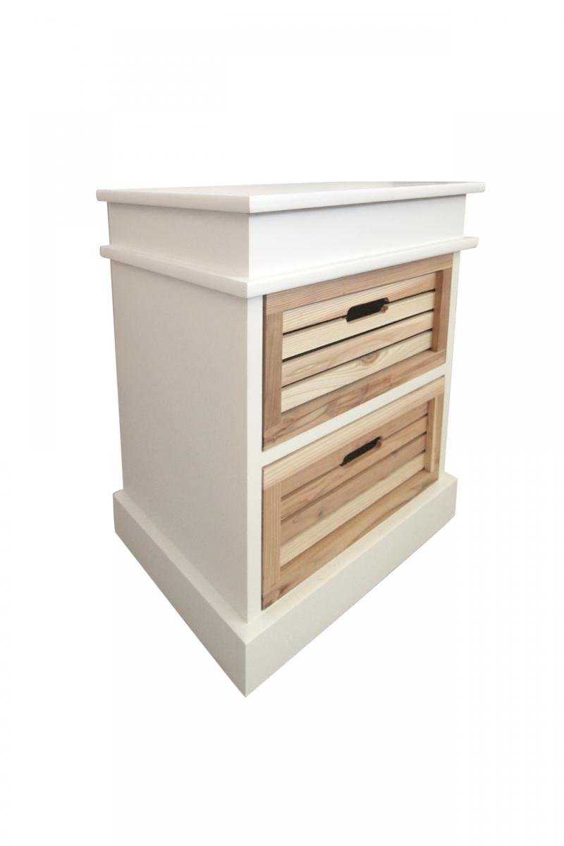 Bedside table cabinet white 2 drawers light wooden bedroom for Small light wood kitchen table