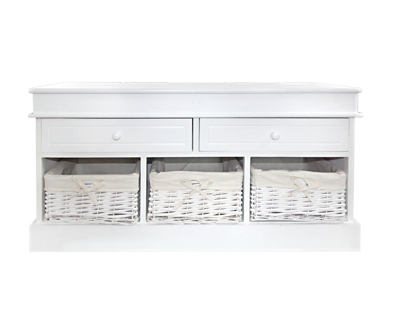 Panca panchina contenitore bianca con 3 cestini in vimini for Panca cucina ikea