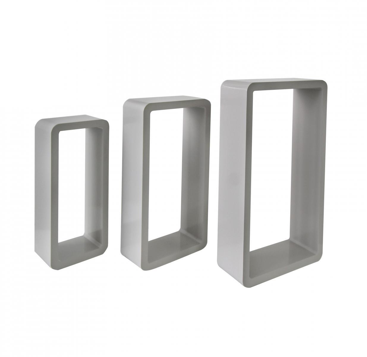 Set di 3 mensole componibili rettangolari da parete a cubo for Mobili rebecca potenza picena